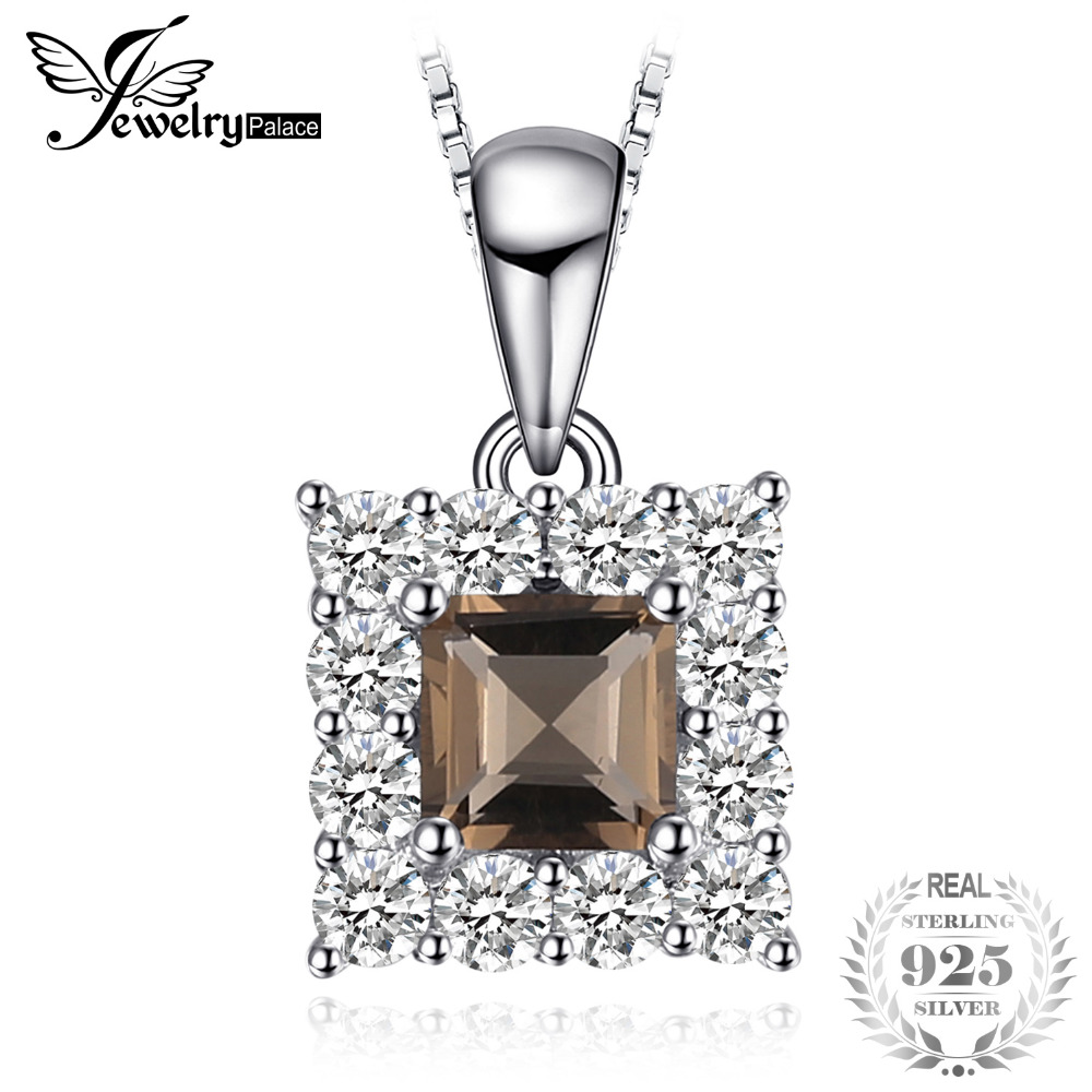Succinct 0.6ct Square Cut Genuine Smoky Quartz Halo Pendant Necklace 926 Sterling Silver Gift New Without Chain