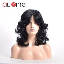 Alizing Synthetic Big Loose Wave Wig High Temperature Fiber Black Hair Spring Curl for Woman Style 8050-A-TS