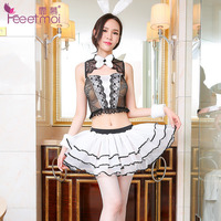 Lovely Rabbit Girl Uniforms Sexy Erotic Lingerie For Women Net Cloth Lace Babydoll Transparent Hot Sex