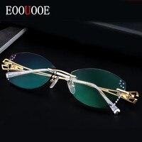 EOOUOOE Women Eyewear Optical Oculos Glasses Gafas Opticas Lens Diamond Decoration Feminine Rimless Pure Titanium Glasses Frame
