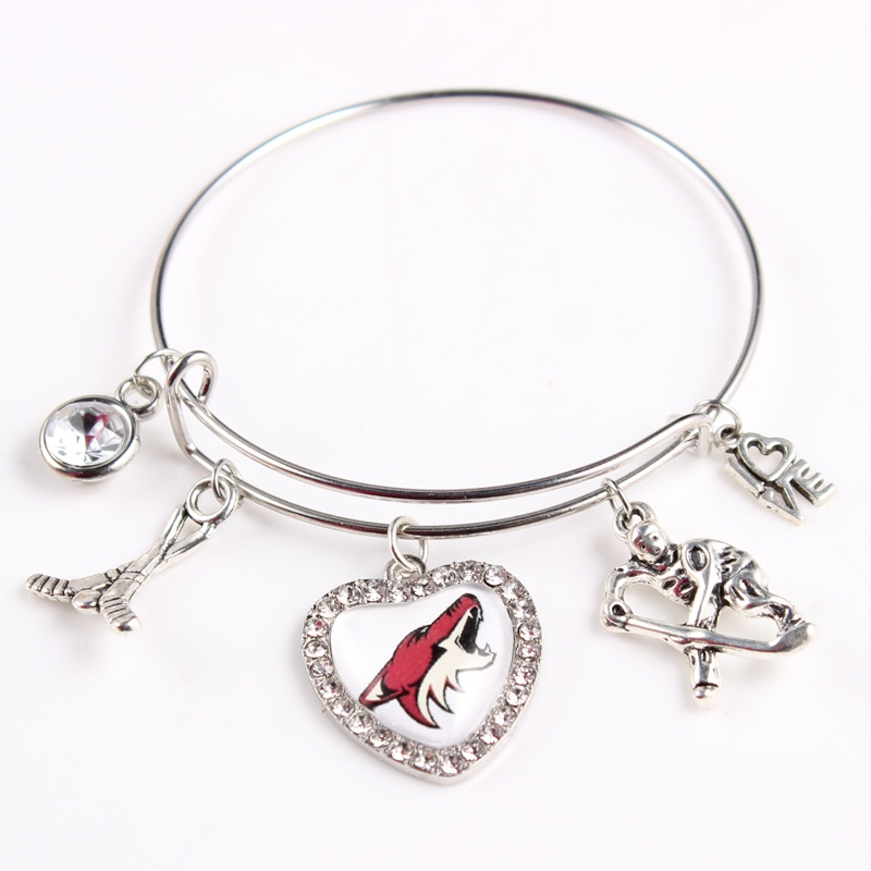Arizona Coyotes Team Logo Hockey Bracelet Adjustable Sport Wire Bangles Fans Jewelry 10pcs