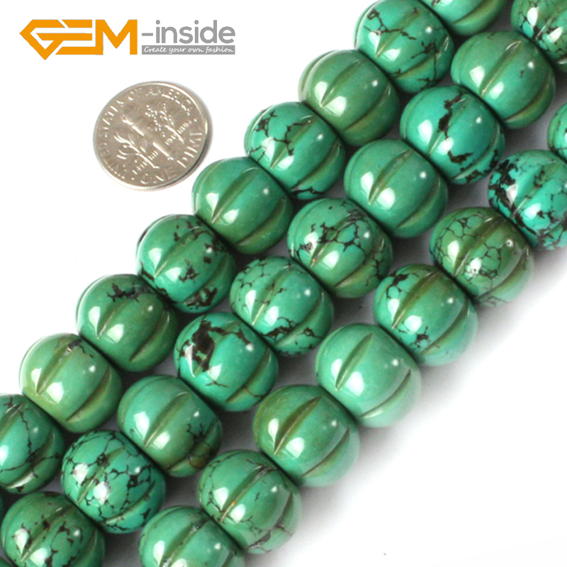 Pumpkin Shape Old Natural Turquoises Beads Natural Stone Beads DIY Loose Beads For Bracelet Making Strand 15 inches DIY Gifts! цена 2017