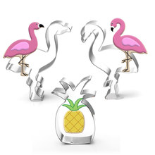 4 stücke Flamingo ananas cookie cutter Hawaii party Flamingo edelstahl keks mold geburtstag party decor cookie form