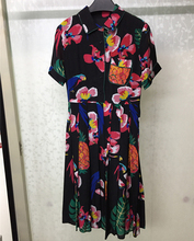 Women Summer Silk Dresses 2018 Short Sleeve Turn-down Collar Dress Casual Floral Printed