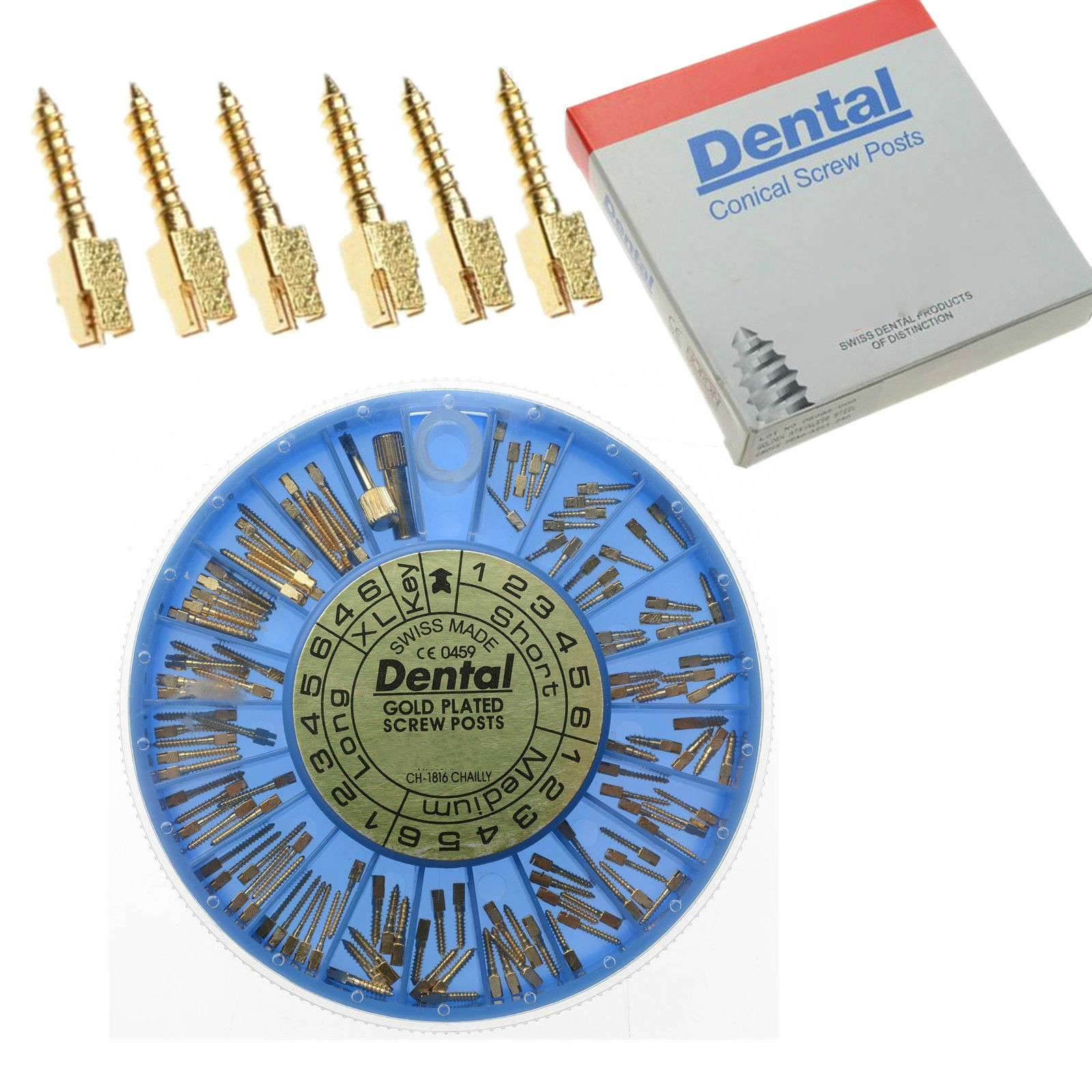 120 Pcs Dental Conical Screw Posts Kits Refills 24K Gold Plated Tapered Hot