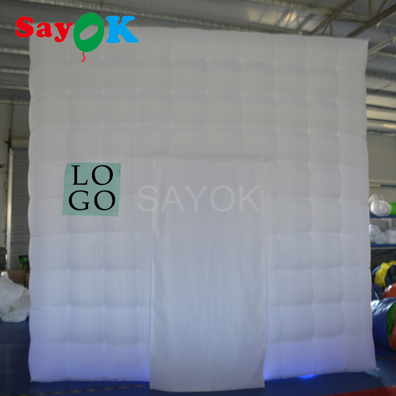Sayok 3.5x3.5x3.5m Inflatable Photo Booth Enclosure with 17-Color LED Lights Inflatable Marquee Tent for Wedding Party Rental