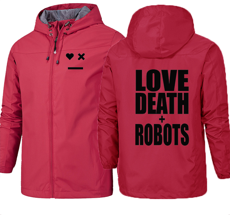 COYOUNG Brand New Men Hiking Jacket Love Death Robots Print Waterproof Windbreaker Man Outdoor Hoodies Slim Sweatshirts