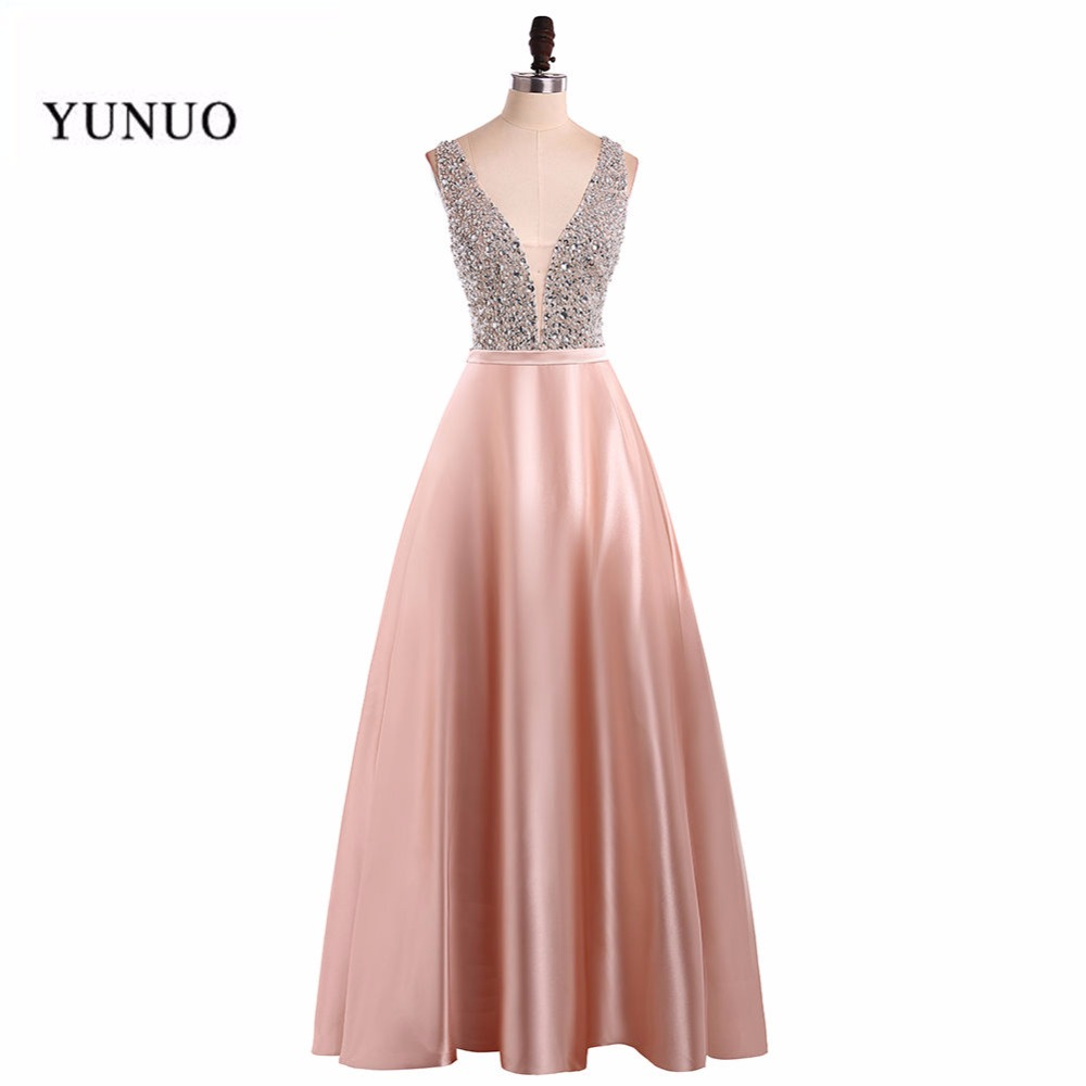 2019   Prom     Dresses   A Line Party   Dresses   Sexy V Neck Sleeveless Vestido De Festa Beading Long   Prom     Dress   Fashion Formal Gowns