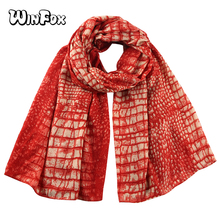 Winfox Fashion Red Snake Crocodile Scarves Shawl Foulard Femme Scarf Ladies Women Stole