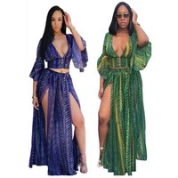 Fashion Beach Outfits Women 2 Piece Set Sexy Chiffon Maxi Dress Suit Split Flare Sleeve Crop