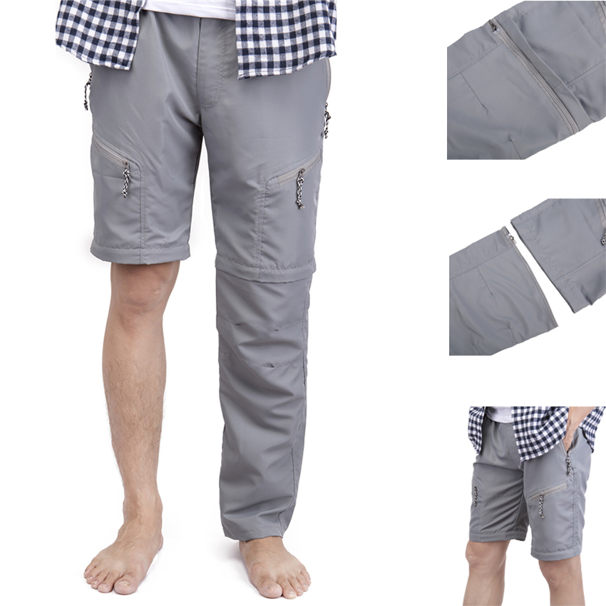FLORATA Long/Short Casual Trousers Men Summer Casual Pocket Shorts Masculino Men Joggers Dual Wear Short Pants Plus Size