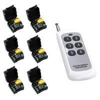 High Quality AC 220 V 1 CH RF Wireless Remote Control Switch System 6 Receivers 6