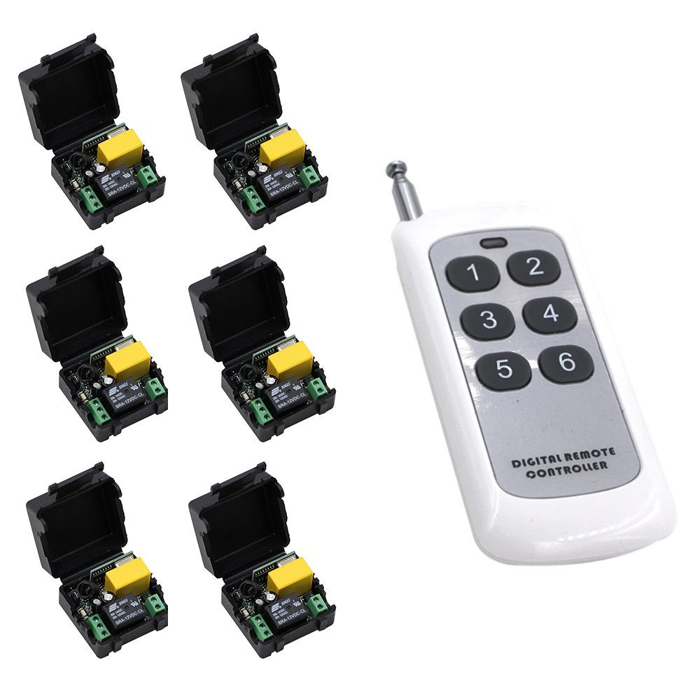 High Quality AC 220 V 1 CH RF Wireless Remote Control Switch System 6* Receivers +6 Buttons Transmitter 315/433mhz Hot Sale ac 220v 30a 1ch rf wireless remote control switch system 315 433 mhz 6ch transmitter & 6 x receivers momentary toggle sku 5519