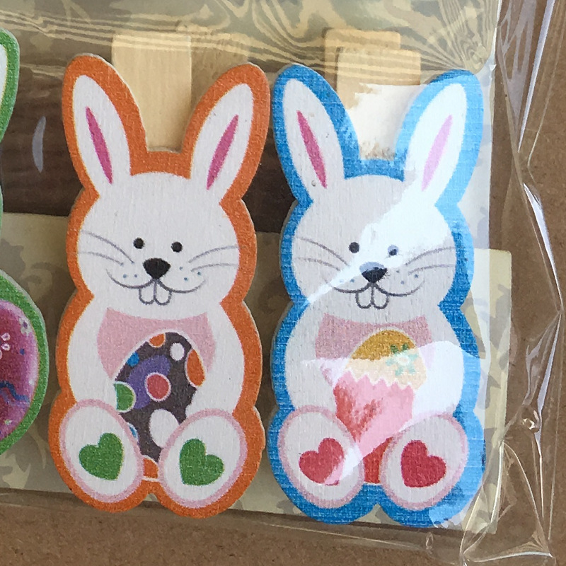 10pcs Easter Wooden For Photo Clips Handmade Cartoon Bunny Rabbit Wood Photo Clip Birthday Easter Decor Supplies