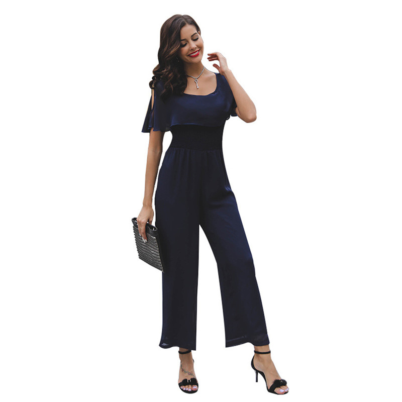 Vertical Striped Summer Jumpsuit Romper Sexy Women Rompers Wide Leg Loose Casual Overalls 2
