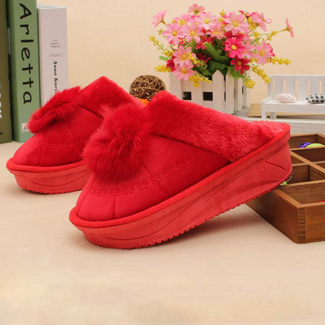 f92e7c93ea4f Thick bottom winter house slippers for women fashion pantufa casual indoor  home shoes fluffy slippers cute