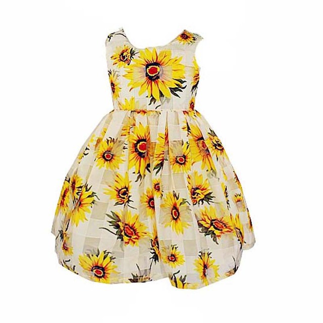 b0084a7b3fc52 Summer Girls Princess Dresses 2017 Toddler Girl Sleeveless Party Dress  Fashion 3D Sunflower Toddler Princess Dress Girl Clothes
