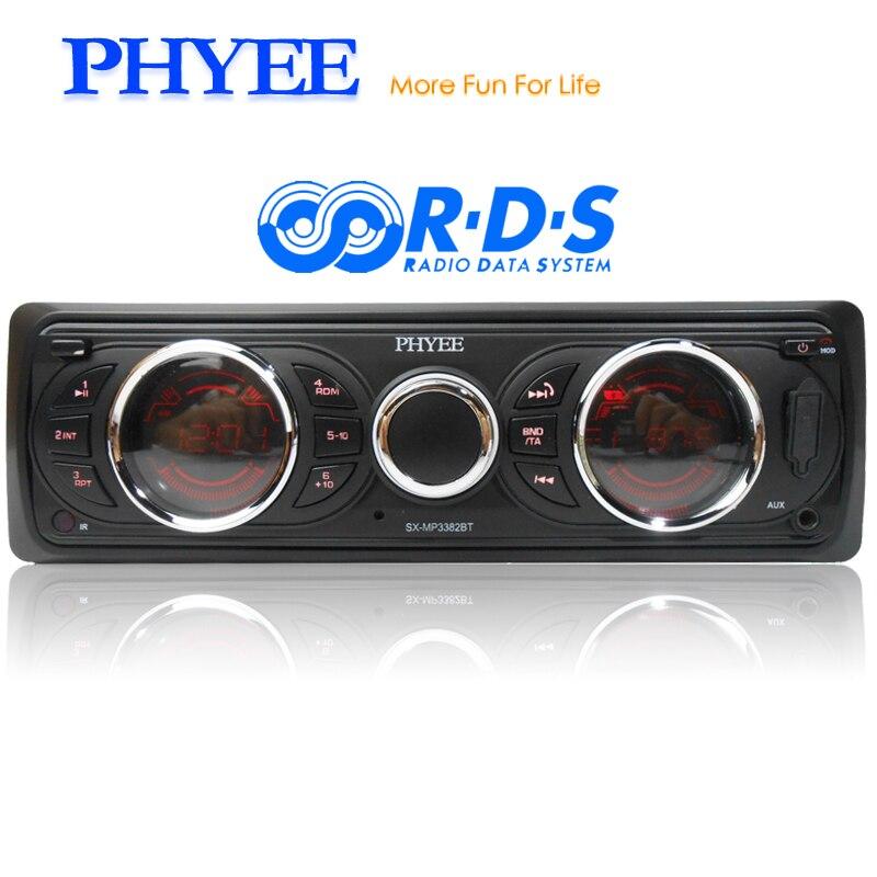 Autoradio amovible 1 Din RDS Bluetooth Audio Stéréo A2DP Mains Libres AM FM USB Unité de tête SD AUX ISO PHYEE SX-MP3382BT