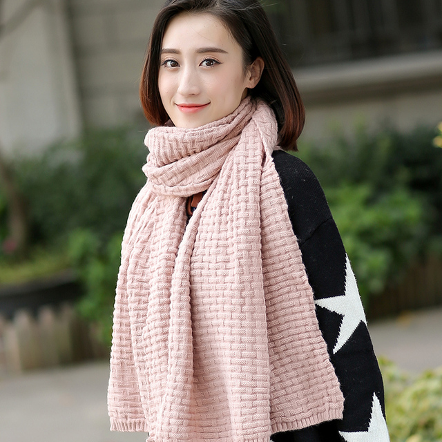 2017 New Hot Sale Women Adult Fashion Solid Cotton Scarf Korean Female Winter Long Scarf Knitted Thick Warm Wool Woman Students