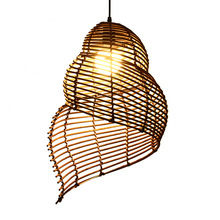 simple modern pendant light led e27 loft country wooden hanging lamp with 11 colors for home dining room restaurant parlor cafe Modern deco conch minimalist Rattan weavi pendant light creative LED hanging light for restaurant dinner room cafe room lamp e27