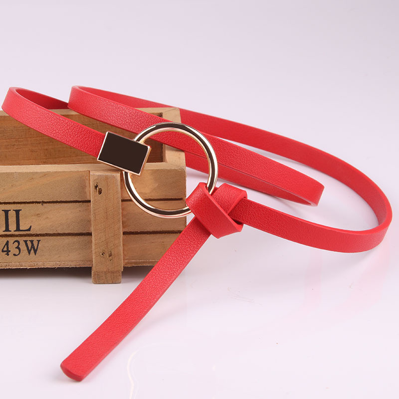 Women Waist Belt Lovely Women's PU Leather Strap Big Ring Decorated Belts Female Hot Newest Design Fashion Gold Pin Buckle Solid