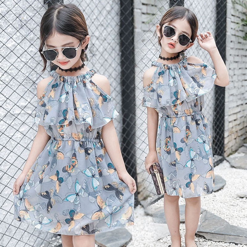 Teens Girls Summer 2018 Dress Chidren Butterfly Print Princess Elegant Chiffon Sleeveless Party Dress Cute Kids Beach Vestidos