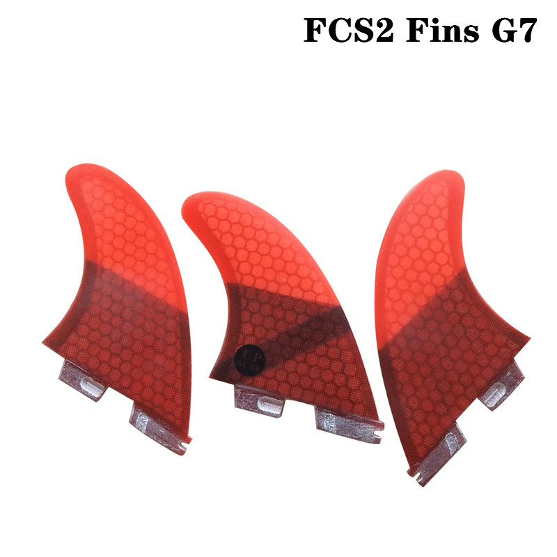 Surfboard FCS II Tri fin set Fiberglass Surf FCS2 Fins G7 Light Black/Blue/Red/Green upsurf new design