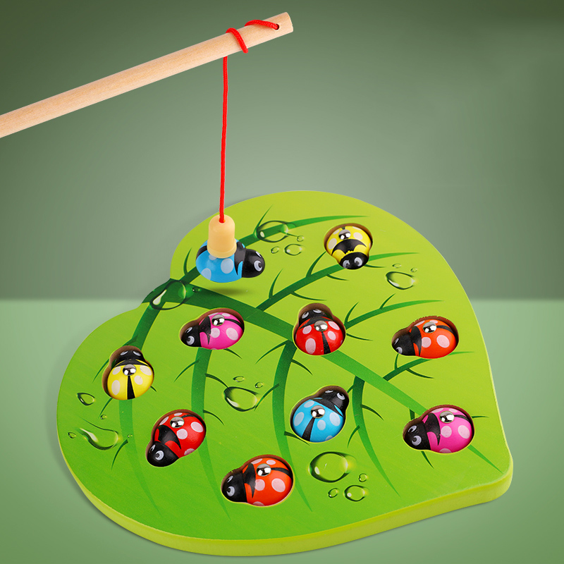 Kids Toys Wooden Montessori Toys Magnetic Games Fishing Ladybug Toy Early Educational Puzzle Toys For Children Girl Gift