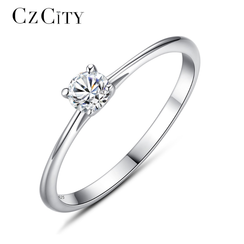 CZCITY Brand 925 Sterling Silver Rings Simple Classic 4mm Cubic Zirconia 925 Silver Finger Ring Romantic Bridal Wedding Jewelry