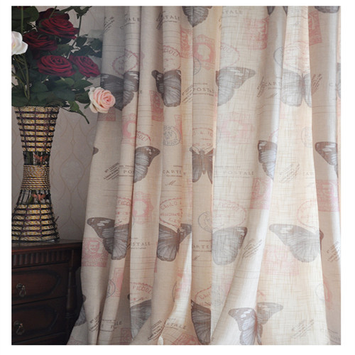 Quality Fashion Vintage Classical Nostalgic Thickening Linen Pink Butterfly Curtain Living Room Bedroom