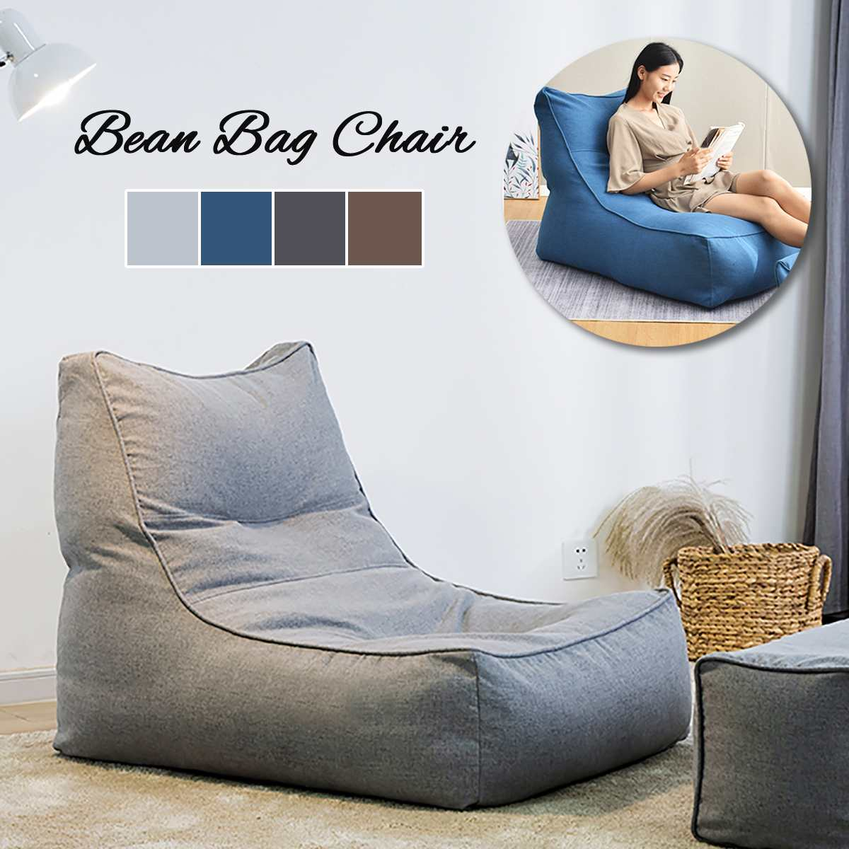 Lazy Cotton Linen Bean Bag Chair Sofa Cover No Filling in