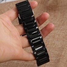 Negro de Acero Inoxidable Correa de Reloj Pulsera de la Correa Extremo Recto 18mm 20mm 21mm 22mm 24mm Hebilla envío Gratis