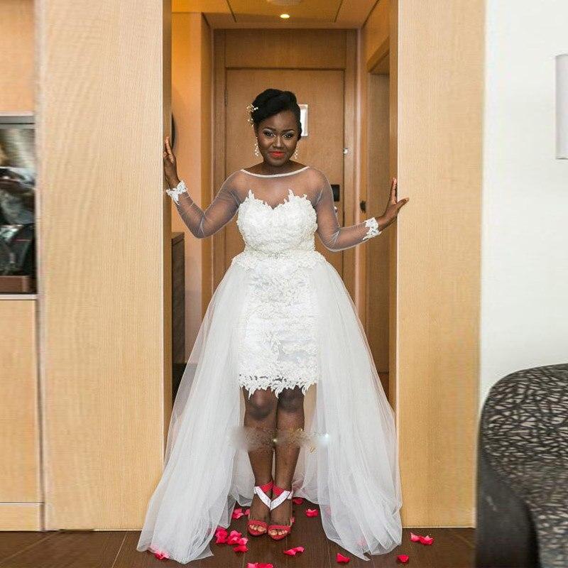 Black Wedding Dress With Detachable Train: Detachable Train Arabic Lace Wedding Dresses Short