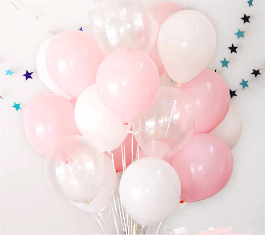 12pcs 2.3g Pink White 2.8g Transparent Balloons Latex Helium Happy Birthday Party Supplies Baby Shower Wedding Decro Balls