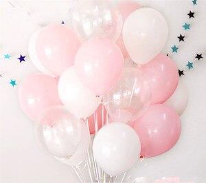 Image 1 - 12pcs 2.3g Pink White 2.8g Transparent Balloons Latex Helium Happy Birthday Party Supplies Baby Shower Wedding Decro Balls