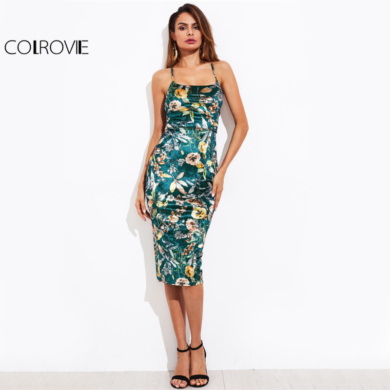 fd19d7d9744 COLROVIE Lace Up Back Floral Velvet Dress Botanical Women Sexy Cami Midi  Summer Dresses Green Elegant Bodycon Party Dress-in Dresses from Women s  Clothing ...