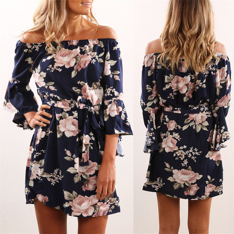 New Spring Autumn Women Dresses Vestidos Casual Loose Slash Neck  Butterfly Sleeve Print Sashes Dress For Women Large One-Piece