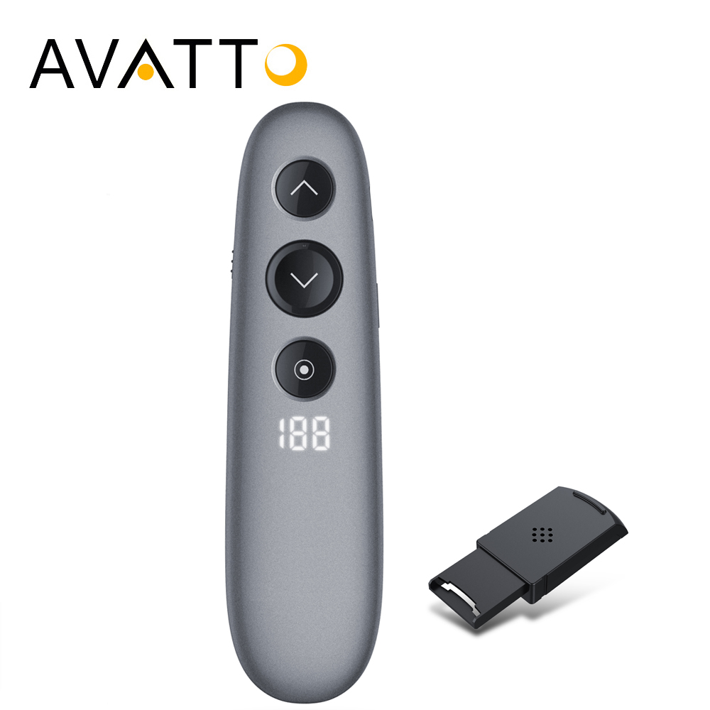 AVATTO H100 Spotlight 2.4GHz Wireless Digital Laser Presenter with Air Mouse Remote ,TF Card PPT Pointer Presenter for Meeting  AVATTO H100 Spotlight 2.4GHz Wireless Digital Laser Presenter with Air Mouse Remote ,TF Card PPT Pointer Presenter for Meeting
