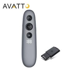 AVATTO H100 proyector 2,4 GHz inalámbrico Digital láser presentador con Air Mouse control remoto tarjeta TF PPT puntero presentador para la reunión
