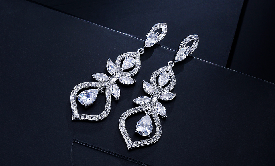 ZAKOL Luxus CZ Wedding Jewelry Chandelier Dangles Drop Earrings For Noble Women Anniversary FSEP308 7