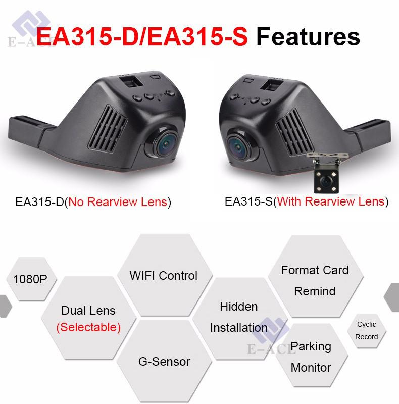 E-ACE Car Dvr WIFI DVRs Dual Camera Lens Registrator Dashcam Digital Video Recorder Camcorder Full HD 1080P 30FPS Night Version 4
