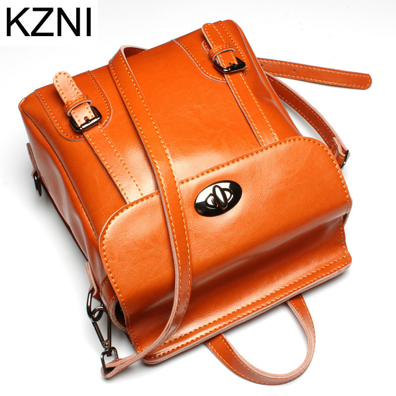 KZNI Genuine Leather Purse Crossbody Shoulder Women Bag Female Backpack Sac a Main Femme De Marque