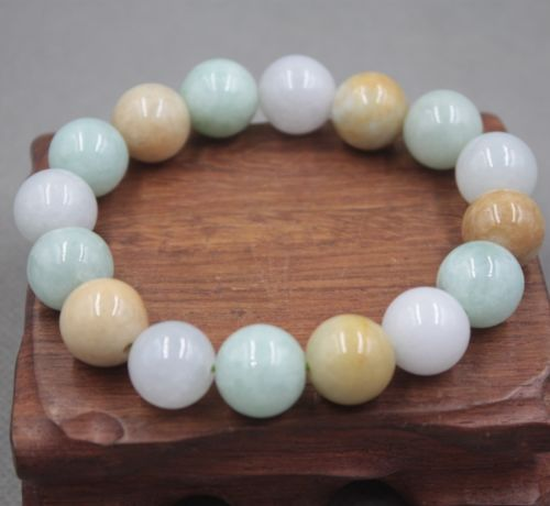 New Arrival Natural Grade A Jade Jadeite 13.5mm Colorful Bead Lucky BraceletNew Arrival Natural Grade A Jade Jadeite 13.5mm Colorful Bead Lucky Bracelet