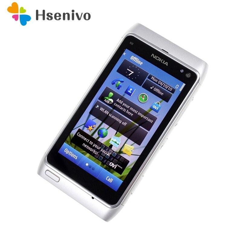 100% original nokia n8 telefone móvel 3g wifi gps 12mp câmera 3.5