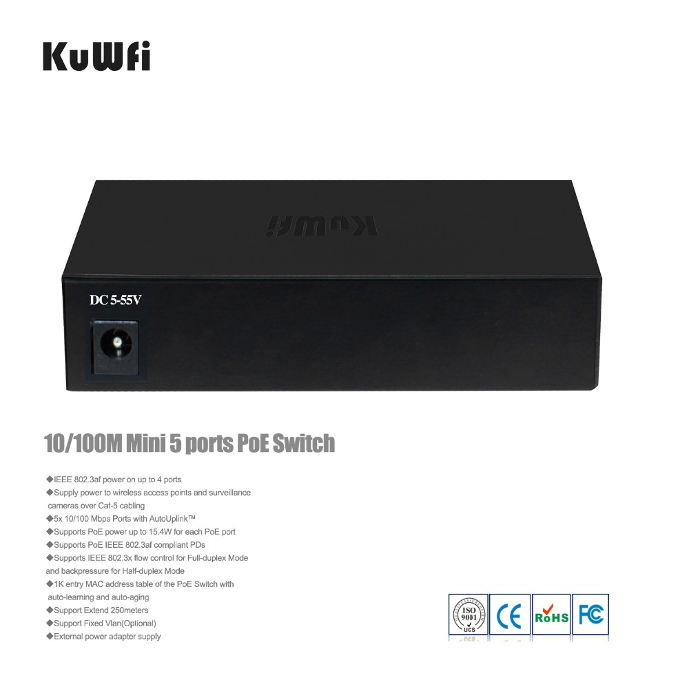 Image 3 - KuWfi 48V 10/100Mbps Network Switch Plug And Play 5Ports Fast Switch Full Duplex & Half Duplex for AP/Camera-in Network Switches from Computer & Office