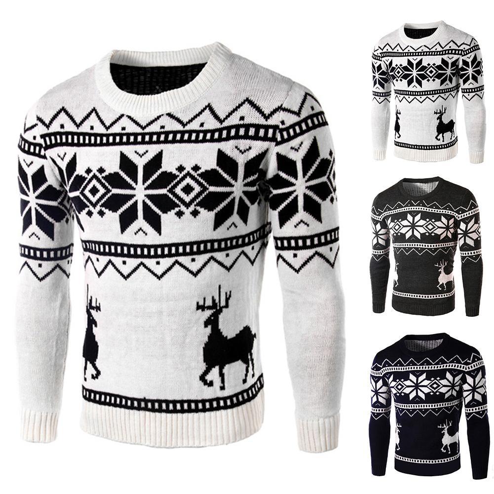 Winter Men Christmas Deer Snowflake Print Long Sleeve Sweater Slim Fit Jumper