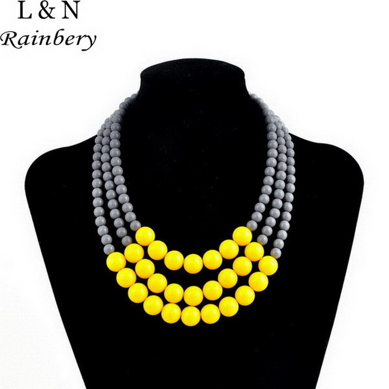 Rainbery 2018 Multi Layer Necklace Gold Color Brand Women Colar Masculino Statement Choker Triple Layer African Beads Necklace
