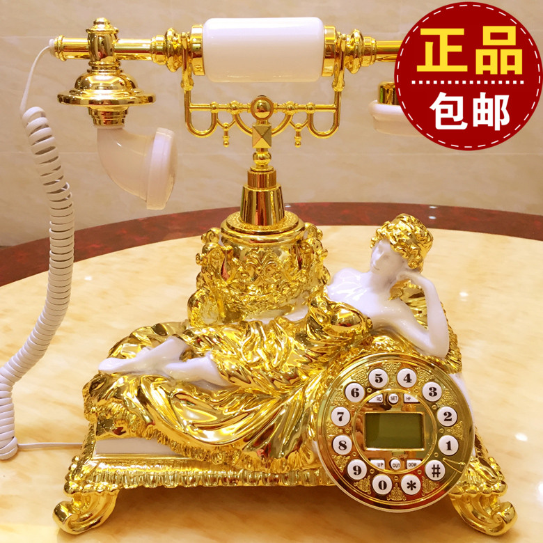 The new landline phone card room luxury European antique telephone retro white Decoration home classical ID backlit phone Caller