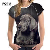FORUDESIGNS Women T Shirt Short Sleeved Cute Great Danes Printing Kawaii Dogs Girl Streetwear   Top     Tees   Female Funny 3D T Shirts
