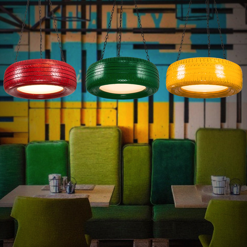 Loft Retro Wrought Iron Pendant Lamp Colorized Tire Dining Room Decoration Light Cafe Light D600MM Free Shipping nordic wrought iron simple modern pendant lamp with led bulb dinning room light cafe lamp e27 110v 220v free shipping